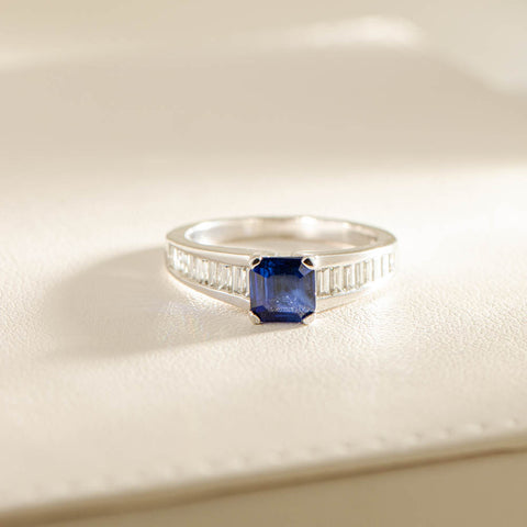 18ct White Gold 1.13ct Sapphire & Diamond Ring - Walker & Hall
