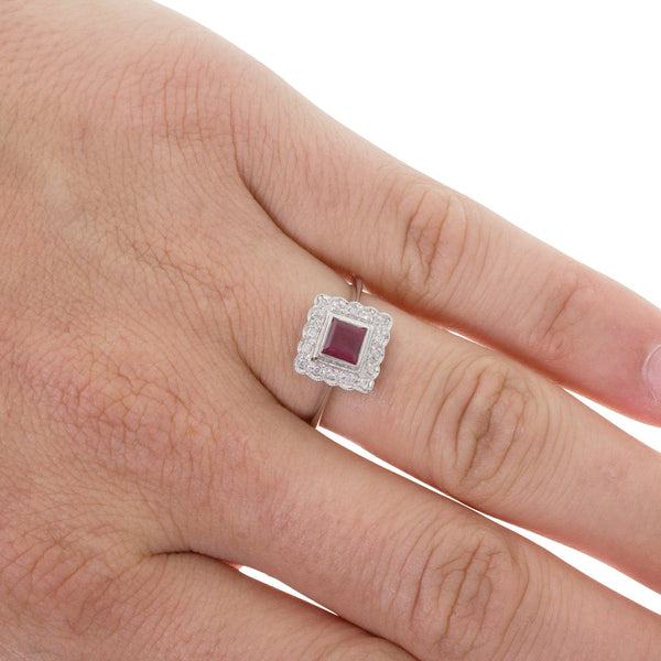 9ct White Gold Ruby & Diamond Ring - Walker & Hall