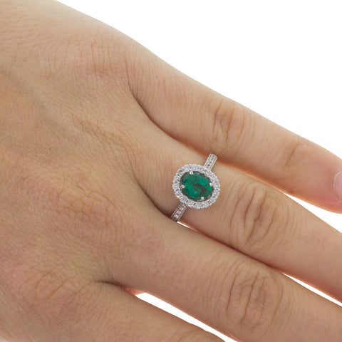 18ct White Gold 1.00ct Emerald & Diamond Ring - Walker & Hall