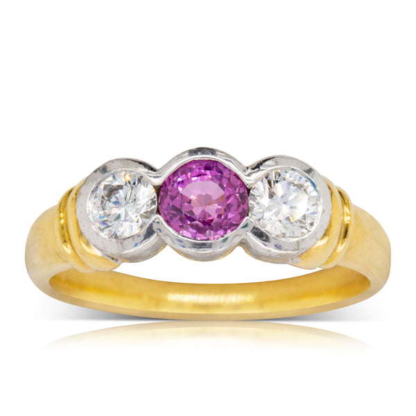 18ct Yellow & White Gold .87ct Pink Sapphire & Diamond Ring - Walker & Hall
