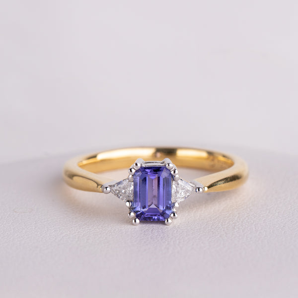 18ct Yellow Gold .52ct Tanzanite & Diamond Ring - Walker & Hall
