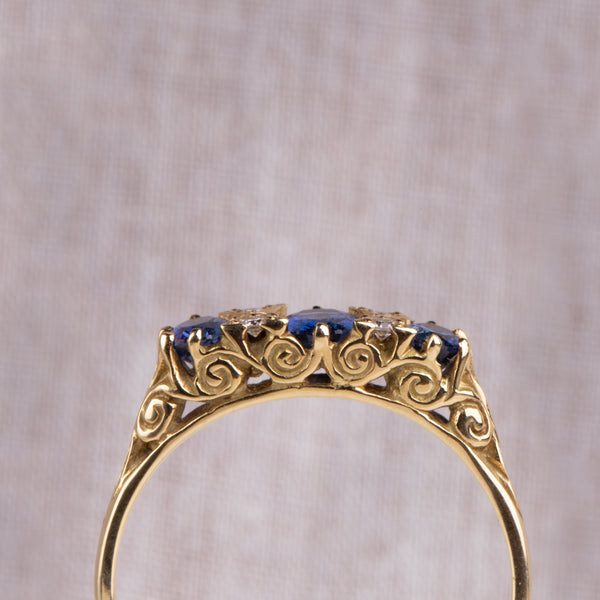 18ct Yellow Gold Sapphire & Diamond Ring - Walker & Hall