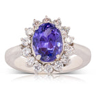 Deja Vu 18ct White Gold 3.16ct Tanzanite & Diamond Halo Ring - Walker & Hall