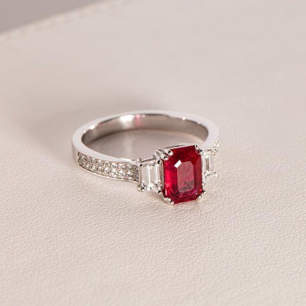 18ct White Gold Ruby & Diamond Ring - Walker & Hall