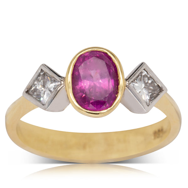 18ct Yellow & White Gold 1.25ct Pink Sapphire & Diamond Ring - Walker & Hall