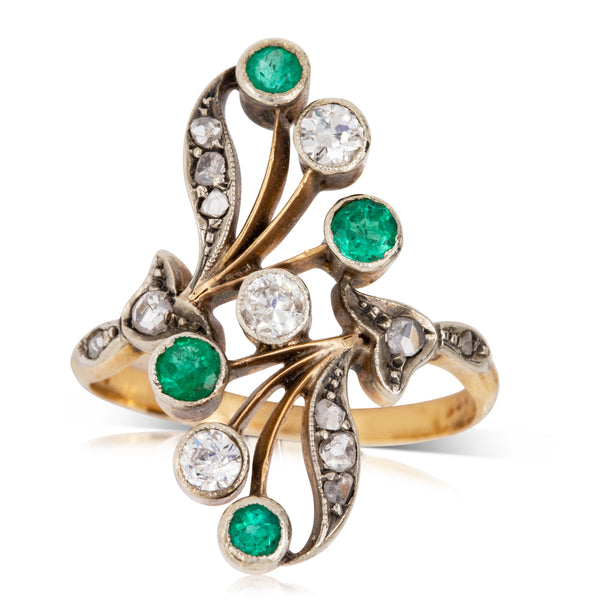 Vintage 18ct Yellow Gold, Sterling Silver & Platinum .40ct Emerald & Diamond Ring - Walker & Hall