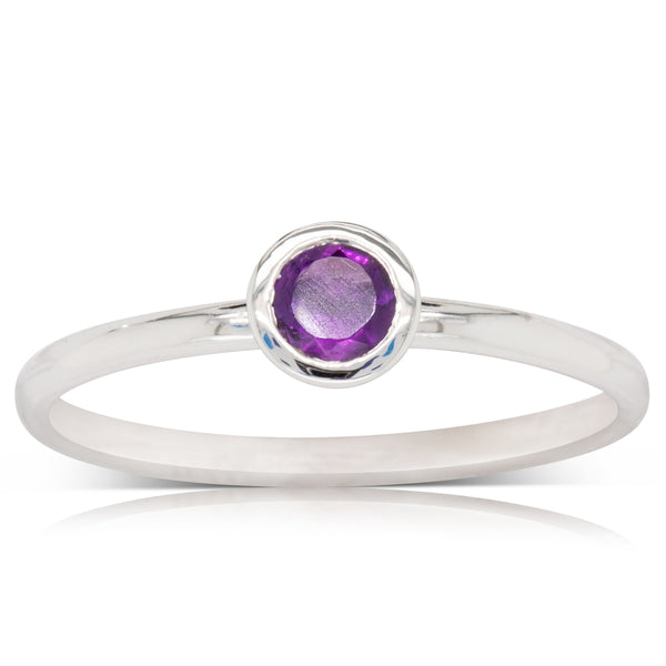 18ct White Gold Amethyst Stacker Ring - Walker & Hall