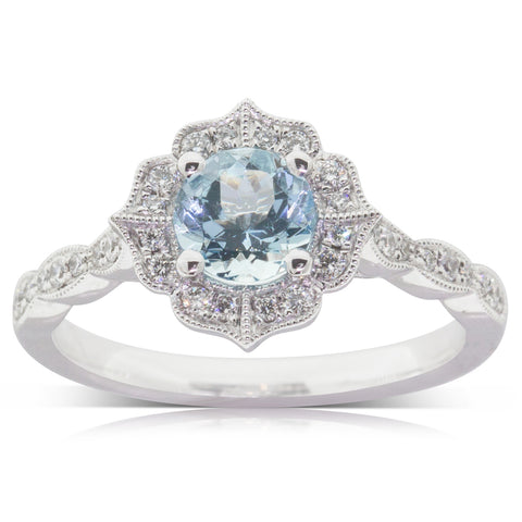 18ct White Gold 0.71ct Aquamarine & Diamond Paramount Ring - Walker & Hall
