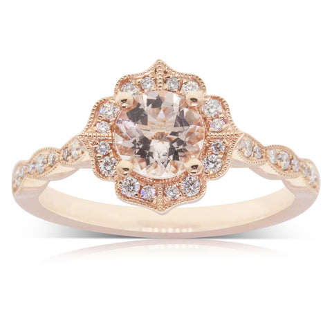 18ct Rose Gold 0.80ct Morganite & Diamond Paramount Ring - Walker & Hall
