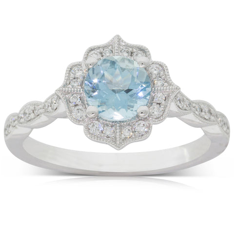 18ct White Gold 0.83ct Aquamarine & Diamond Paramount Ring - Walker & Hall