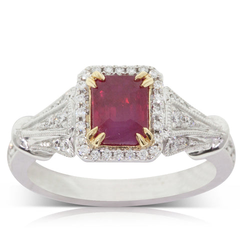 18ct White Gold 1.56ct Ruby & Diamond Halo Ring - Walker & Hall
