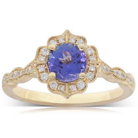 18ct Yellow Gold 1.00ct Tanzanite & Diamond Paramount Ring - Walker & Hall