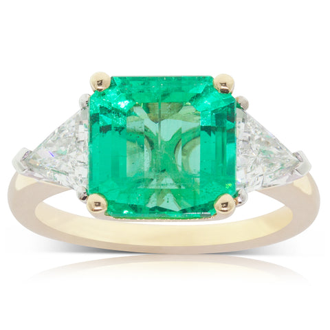 18ct Yellow Gold 3.97ct Emerald & Diamond Ring - Walker & Hall