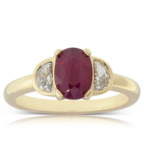 18ct Yellow Gold 1.74ct Ruby & Diamond Ring - Walker & Hall