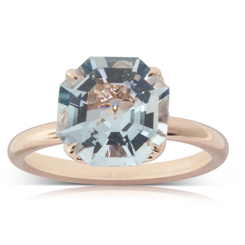 18ct Rose Gold Aquamarine Octavia Ring - Walker & Hall