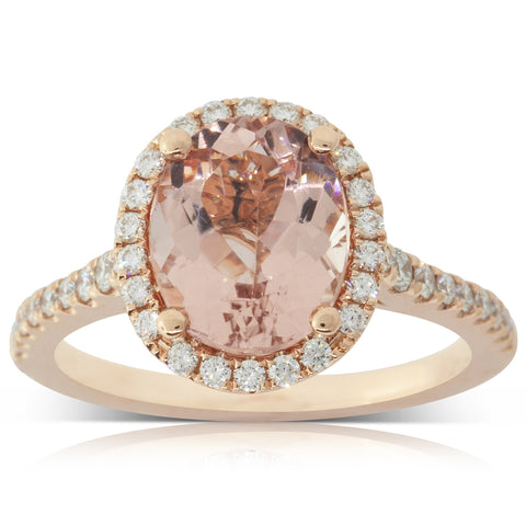 18ct Rose Gold 2.36ct Morganite & Diamond Sierra Ring - Walker & Hall