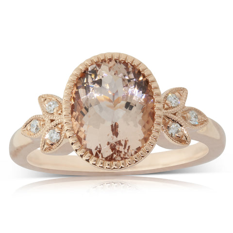 18ct Rose Gold 2.65ct Morganite & Diamond Laurel Ring - Walker & Hall