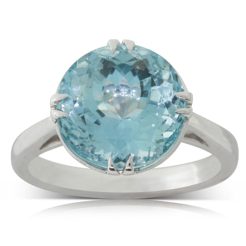 18ct White Gold 6.24ct Aquamarine Amelia Ring - Walker & Hall