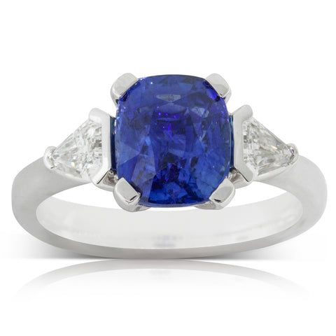 18ct White Gold 4.00ct Sapphire & Diamond Ring - Walker & Hall