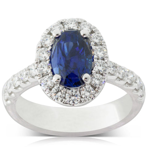 18ct White Gold 2.96ct Sapphire & Diamond Ring - Walker & Hall