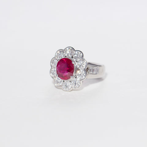 Vintage Platinum 2.48ct Ruby & Diamond Ring - Walker & Hall