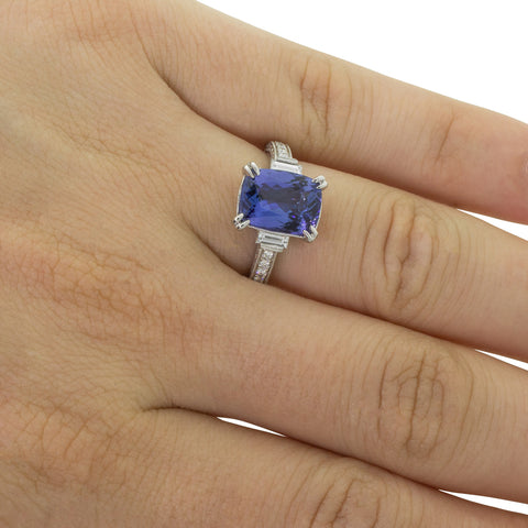 18ct White Gold 3.31ct Tanzanite & Diamond Ring - Walker & Hall