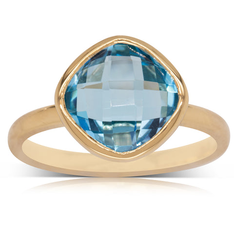 9ct Yellow Gold Blue Topaz Cushion Ring - Walker & Hall