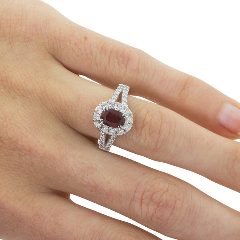 18ct White Gold 1.03ct Ruby & Diamond Ring - Walker & Hall