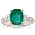 18ct White & Yellow Gold 2.82ct Emerald & Diamond Ring - Walker & Hall