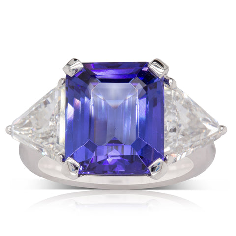 Platinum 7.56ct Tanzanite & Diamond Ring - Walker & Hall