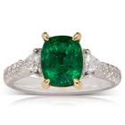 18ct White & Yellow Gold 2.67ct Emerald & Diamond Ring - Walker & Hall