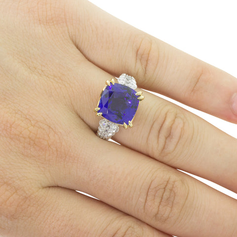 18ct White & Yellow Gold 7.41ct Tanzanite & Diamond Ring - Walker & Hall