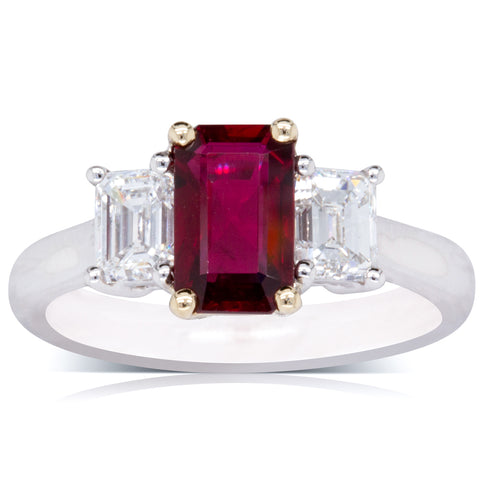 18ct White Gold 1.52ct Ruby & Diamond Ring - Walker & Hall