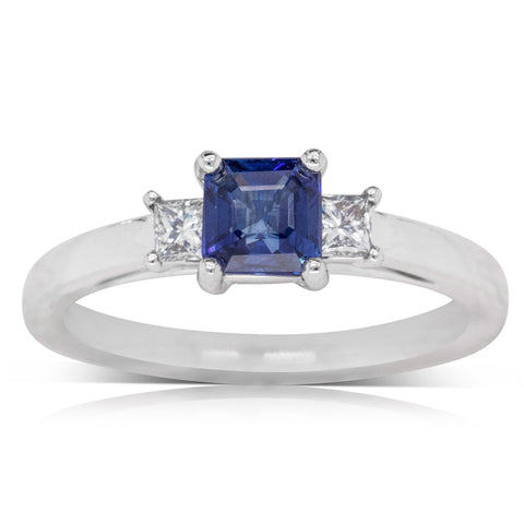 18ct White Gold .98ct Sapphire & Diamond Olympus Ring - Walker & Hall