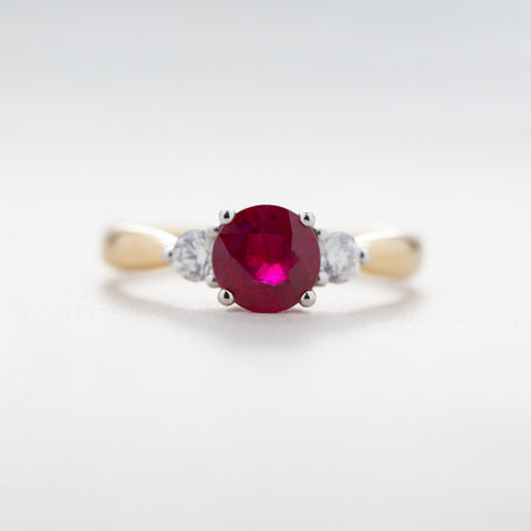 18ct Yellow Gold 1.24ct Ruby & Diamond Elysian Ring - Walker & Hall