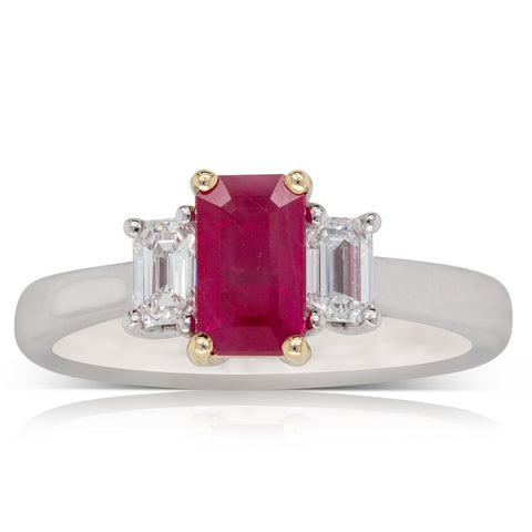 18ct White Gold 1.16ct Ruby & Diamond Ring - Walker & Hall