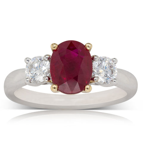 18ct White Gold 2.03ct Ruby & Diamond Ring - Walker & Hall