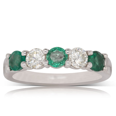 Deja Vu 18ct White Gold .75ct Emerald And Diamond Band - Walker & Hall