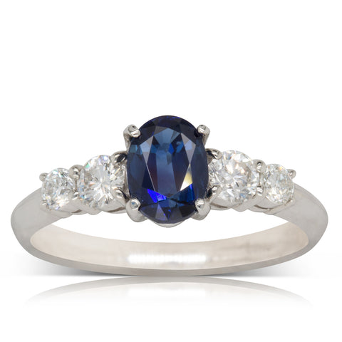 Deja Vu Platinum 1.08ct Sapphire & Diamond Ring - Walker & Hall