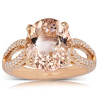 18ct Rose Gold 4.79ct Morganite & Diamond Ring - Walker & Hall
