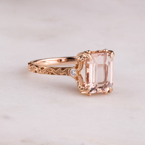 18ct Rose Gold 2.56ct Morganite & Diamond Romanov Ring - Walker & Hall