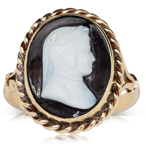 Vintage 9ct Yellow Gold Cameo Onyx Ring - Walker & Hall