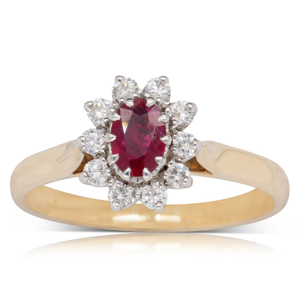 Deja Vu 9ct Yellow Gold .60ct Ruby & Diamond Ring - Walker & Hall