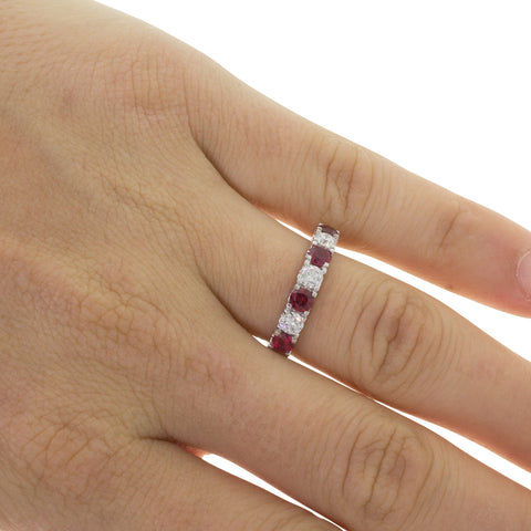 18ct White Gold .83ct Ruby & Diamond Rialto Ring - Walker & Hall