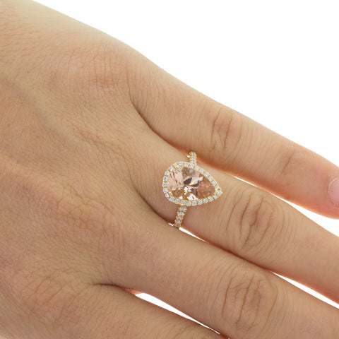 18ct Yellow Gold 2.00ct Morganite & Diamond Sierra Ring - Walker & Hall