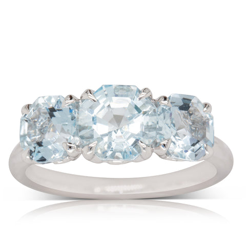 18ct White Gold Three Stone Aquamarine Octavia Ring - Walker & Hall