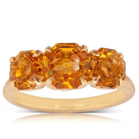 18ct Yellow Gold Three Stone Citrine Octavia Ring - Walker & Hall