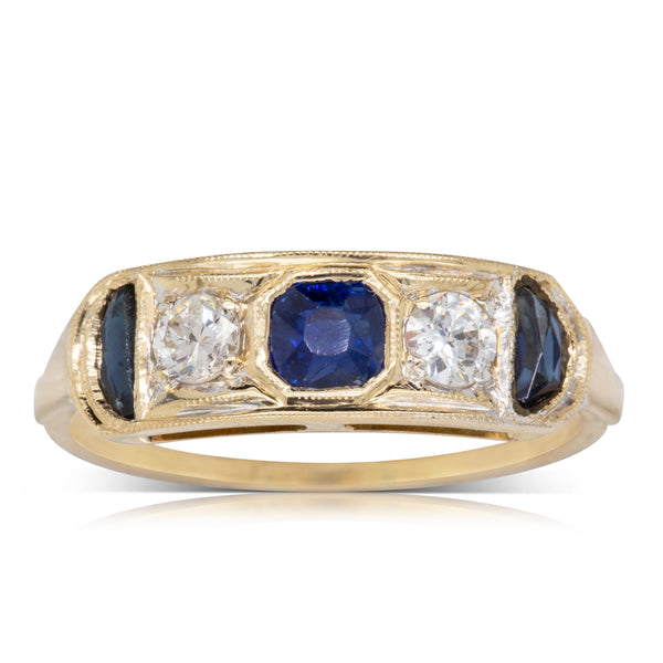 Vintage 18ct Yellow Gold Sapphire & Diamond Ring - Walker & Hall