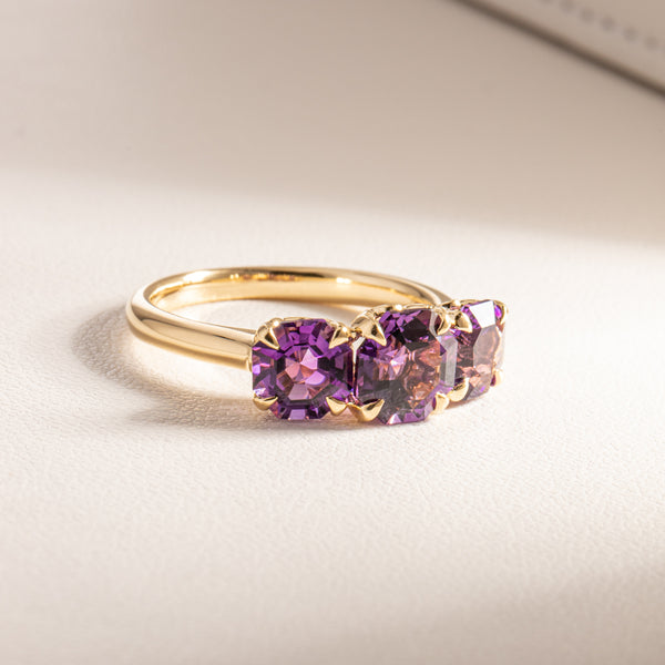 18ct Yellow Gold Three Stone Amethyst Octavia Ring - Walker & Hall