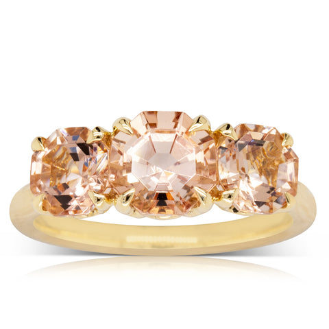 18ct Yellow Gold Three Stone Morganite Octavia Ring - Walker & Hall